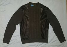 Pre-Owned Men's Saxony Black Leather & Wool Sweater (M)