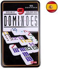 55 Fichas juego de Domino doble 9 DE colores caja metal Dominoes