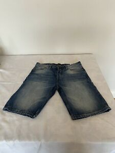 Mens Pull & Bear Blue Denim Bermuda Shorts 32 Inch Waist - VGC