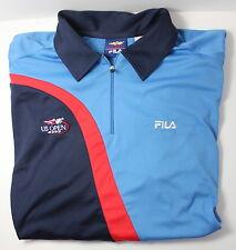 Fila US Open 2003 Men's XL Quarter Zip Red Blue Tennis Polo Shirt