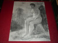 [ André LANDAUD 1924-2013] Naked Female Large Drawing Charcoal-Pastel Paper