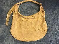 Hobo Bag Beige Laser cut leather like flower overlay front plain back large Zip