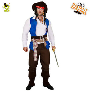 Deluxe Viking Pirate Costume Men's Buccaneer Sets for Adult Halloween Party