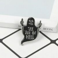 Ghost Enamel Pin Black Specter Middle finger Death F*k Brooch Badge Lapel Pin