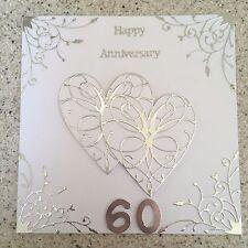 Handmade Diamond Wedding Anniversary card Happy 60 th Wedding Anniversary