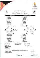 Teamsheet - Liverpool v Sparta Praha 2010/11 UEFA Europa League