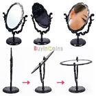 Beauty Rotatable Gothic Small Size Rose Makeup Stand Mirror Black Butterfly