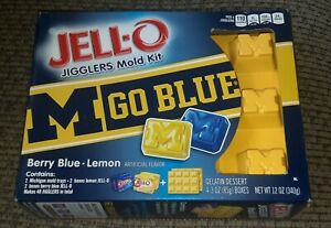 JELL-O  UNIVERSITY of MICHIGAN M Go BLUE JIGGLERS MOLD KIT U of M Jello Shot
