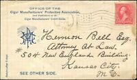 1897 USA TOBACCO ADVERTISING COVER to KANSAS CITY tied with 2c Stamp.
