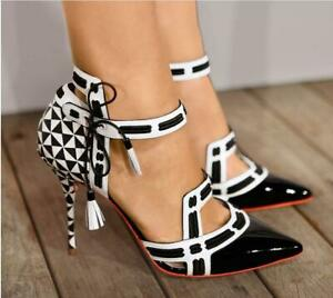 Fashion Women Stilettos High Heels Pointed Toe Ankle Strap Pumps Sexy Club Shoes