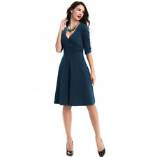 Women Rockabilly Business Office Work Swing Cocktail Evening Party Wrap Dress