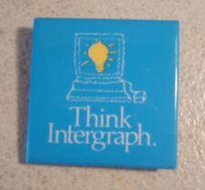 "Think Intergraph Pinback Button - Square - 1.5"" Across - Vintage Computer Ad"