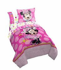 Disney Minnie Mouse Bigger Bow Twin Reversible Comforter  Sham Set