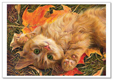 ART Lucie Bilodeau CATs Ginger Kitten: let's play! Feline Modern Postcard #47