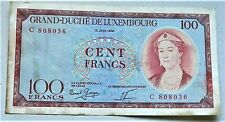 More details for 1956 grand-duche de luxembourg banknote 100 francs blue rare