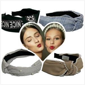 Womens Headband Twist Hairband Bow Knot Cross Tie Ladies Diamond Jewel Headwrap