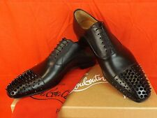 NIB LOUBOUTIN GREGOSSIC  BLACK LEATHER SPIKES CAP TOE LACE UP OXFORDS 41 8