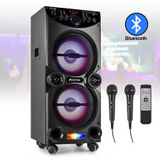 More details for portable karaoke machine bluetooth speaker set with microphones and party lights