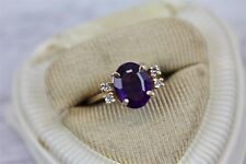 Ring Luxury Right Hand Sz 6.25 Vintage 14K Ylw Gold Diamond Amethyst Cocktail