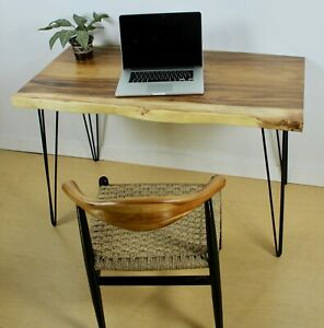 Industrial Live Edge Solid Hard Wood Office Desk Computer Table Hairpin Legs