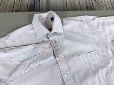 Men's Burberry London Button Down Shirt Size M Blue Pink Plaid Long Sleeve
