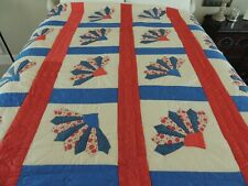 "Vintage Red White & Blue QUILT Hand-Pieced & Appliqued Hand-Quilted 70"" by 84"""