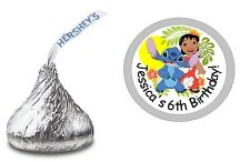 LILO AND STITCH PERSONALIZED HERSHEY KISS LABELS STICKERS BIRTHDAY PARTY FAVORS