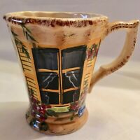 Rue De Paris Tabletops Unlimited Coffee Cup Mug Window Shutter Yellow 16 ounces