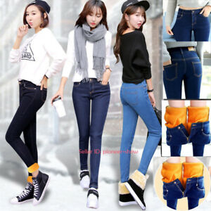 Womens High Waist Warm Jeans Fleece Lined Denim Pant Thermal Stretchy Trousers