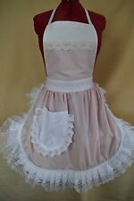 RETRO VINTAGE 50's STYLE FULL APRON / PINNY - BABY PINK & WHITE with LACE TRIM