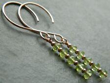 AA Grade PERIDOT Micro Faceted Natural Gemstones & 14K Rolled Rose Gold Earrings