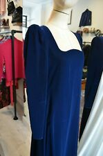 Vintage Yves SAINT LAURENT deep blue velvet 80s gown long YSL dress  -AU 8/10 S