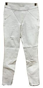 HUE HUE Ripped Knee Original Denim Skimmer - White - Size M Medium