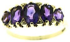 Ladies 9ct yellow gold half eternity garnet rings round stones size N 1/2