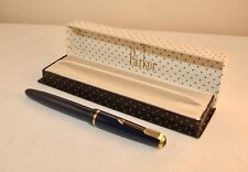 VINTAGE PARKER DUOFOLD JUNIOR FOUNTAIN PEN - BOXED - ROYAL BLUE - C1962