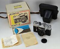 "NEAR EXC! EXPORT USSR ""ZENIT-E"" camera + INDUSTAR-50-2 lens f3.5/50 FULL SET (6)"