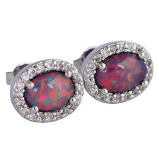 ***Perfect** Silver/Rhodium Plated CHERRY LAB FIRE OPAL/TOPAZ Stud Earrings 12mm