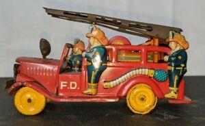 1940's Japan SSS Tin Litho Ladder Fire Truck Working Friction Motor Rare!