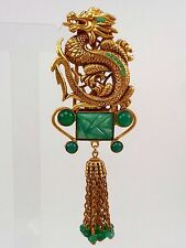 ASKEW of LONDON 24K Antiqued Gold Plated DRAGON AND PAGODA TASSEL DROP Brooch