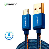 Cable Micro USB azul carga rapida 2.4A Ugreen reforzado denim y correa cuero