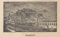 A0273 Monselice - Veduta - Stampa Antica del 1907 - Xilografia