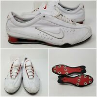 Nike Shox White Red Leather Running Tennis Shoes Sneaker Women's Size 7.5