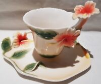 Decorative Baymark Australia Figural Hibiscus Pattern Fine China Cup and Saucer