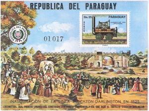 Paraguay 1976 150th Anniv Railroads Souvenir Sheet MH (SC# 1645)