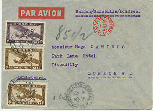 FRENCH INDO-CHINA 1933 extremely rare EARLY Flight SAIGON-MARSEILLE-LONDON