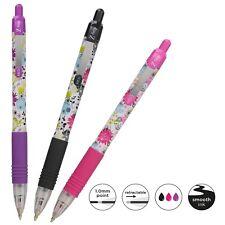 Zebra Z-Grip Funky Floral Ballpoint Pens - Assorted 3 Pack Pink, Purple & black