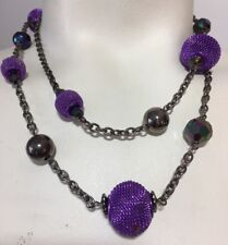 Purple Mesh Large Beads Gun Metal Chain and Beads Faceted Iridescent Beads