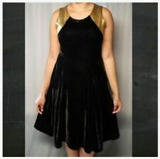 Holiday Dress 3X Plus NY Collection Black Stretch Velvet Gold Trim NWT $70 MC282
