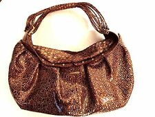 Charlie Lapson Purse Leather Croc Embossed Hobo Brown Gold Celeb Style NWOT