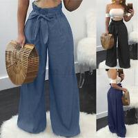 Mode Femme Pantalons Loisir Casual en vrac Loose Poche Jambe Large Long Oversize